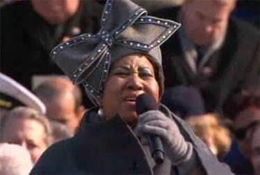 Aretha Franklin sings at Barack Obama Inauguration