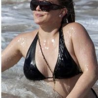 Hilary Duff on the beach in Hawaii