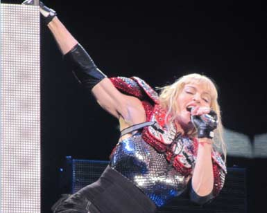 Photo of Madonna performing at Sticky and Sweet Tour