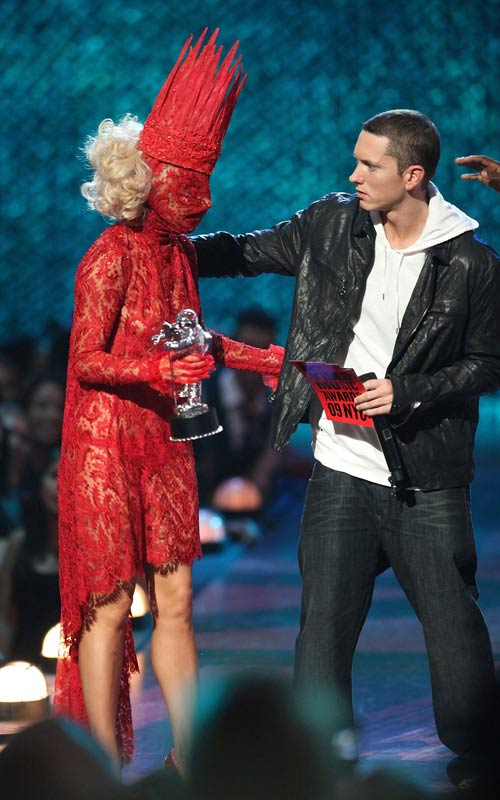 Photo of Lady Gaga and rapper Eminem at 2009 MTV VMA's. Read also