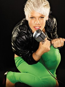 Photo of Pink on a microphone