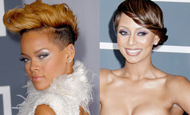 Photo of Rihanna and Keri Hilson at 2010 Grammy Awards