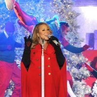 Photo of Mariah Carey singing at the Rockefeller Center Tree Lighting Ceremony