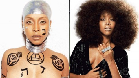 Photo of Erykah Badu with tattoos