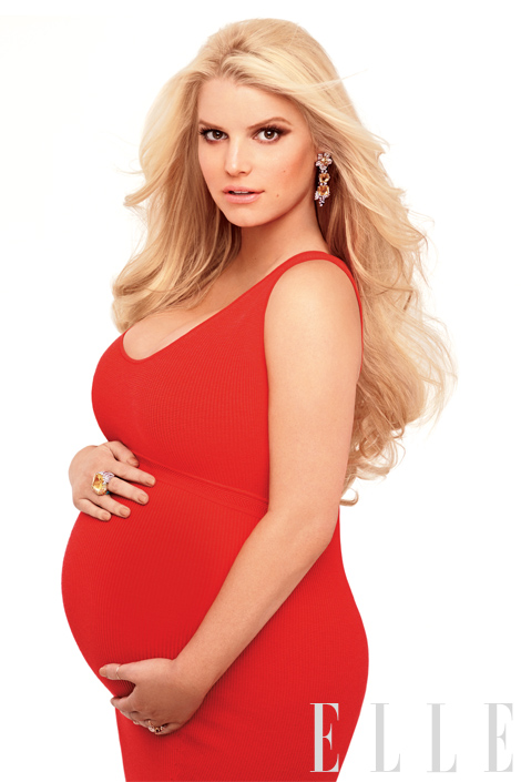 Photo of Jessica Simpson in a red dress – Elle Magazine
