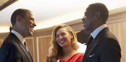 Photo of President Barack Obama, Beyonce and Jay-Z