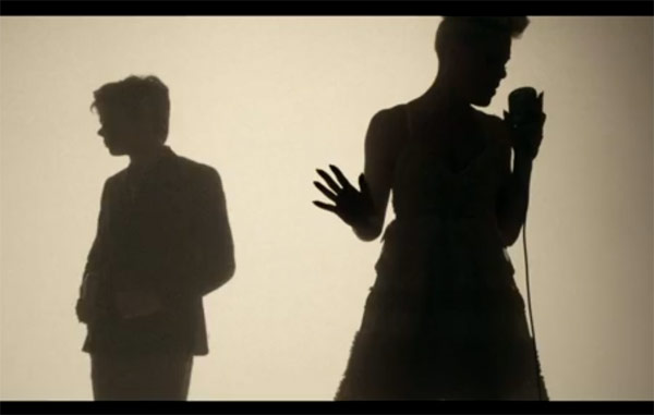 Pink in the music video Just Give Me A Reason featuring Nate Ruess