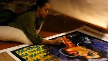 Erkyah Badu signs portrait
