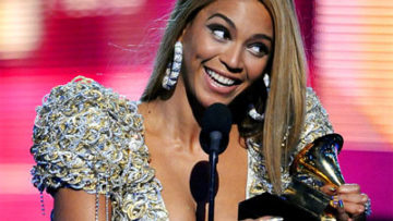 Photo of Beyonce Knowles accepting an award at the 52nd Grammy Awards
