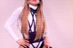 Jennifer Lopez in thigh high stockings in will.i.am music video T.H.E. – The Hardest Ever