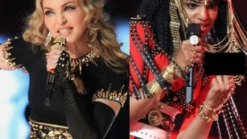Picture of Madonna and M.I.A. Performing at the Super Bowl