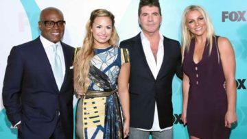 Photo – X-Factor Judges Britney Spears, Simon Cowell, Demi Lovato, LA Reid