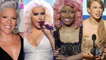 Singer's Pink, Taylor Swift, Christina Aguilera, Nicki Minaj at American Music Awards