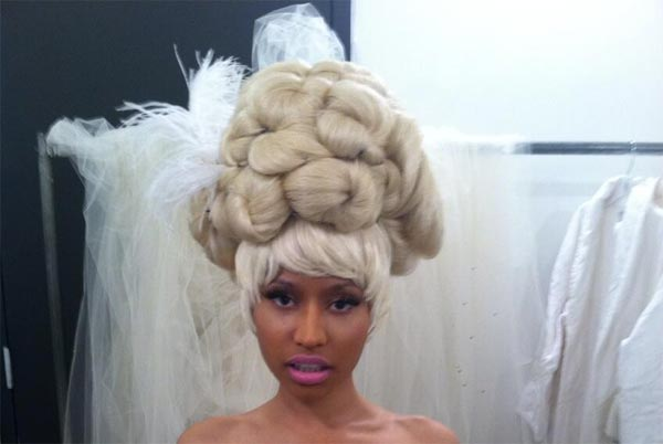 Nicki Minaj Poses Topless In Wedding Dress